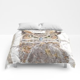 """Watercolor Painting of Picture """"Owl in the Forest"""" Comforters"""