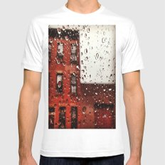 Rainy Day in Brooklyn White MEDIUM Mens Fitted Tee