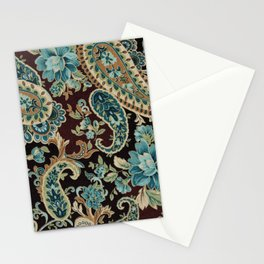 Brown Turquoise Paisley Stationery Cards