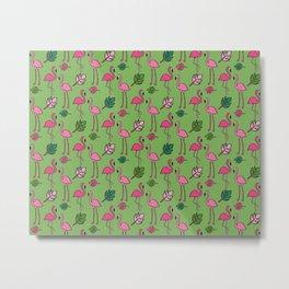 Flamingo print- Green Metal Print