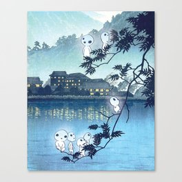 Kodama, Forest spirits vintage japanese woodblock mashup Canvas Print