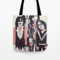 kiss Tote Bags featuring KISS by Angela Dalinger