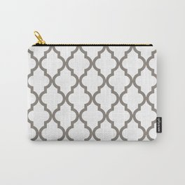 Moroccan Quatrefoil Pattern: Neutral Brown Carry-All Pouch