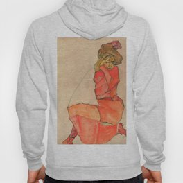 "Egon Schiele ""Kneeling Female in Orange-Red Dress"" Hoody"