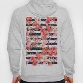 Black and white stripes pink coral watercolor flowers Hoody