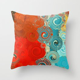Red and Turquoise Swirls Throw Pillow