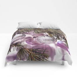 Pink Christmas shimmering baubles twig Comforters