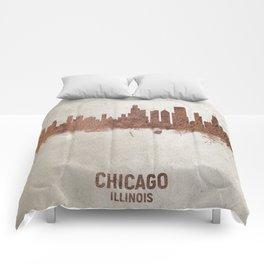 Chicago Illinois Rust Skyline Comforters