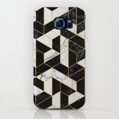 Black and White Marble Hexagonal Pattern Galaxy S7 Slim Case