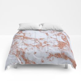 Intense rose gold marble Comforters