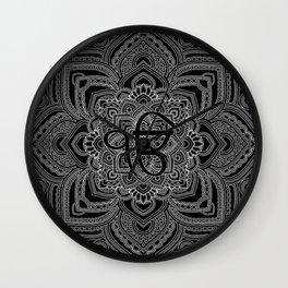 Black and white Ek Onkar / Ik Onkar  in mandala Wall Clock