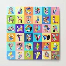 AMP Noise collage alphabet Metal Print