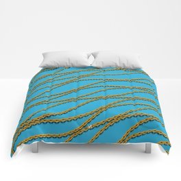 Wave Gold Chain Blue Comforters
