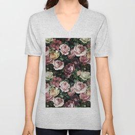 Vintage & Shabby chic - dark retro floral roses pattern Unisex V-Neck