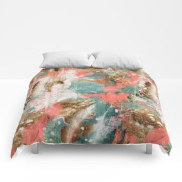 Modern Abstract Painting. Living Coral Pantone 2019 Comforters