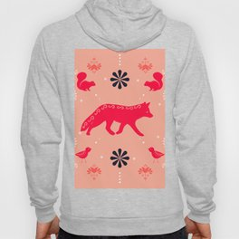 Fox, Squirrel, and Bird Folk Art In Corals and Dark Blue Hoody