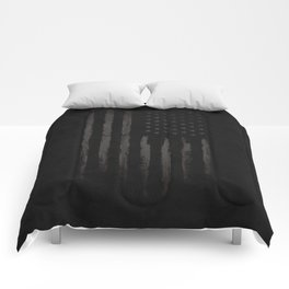 Black American flag Comforters