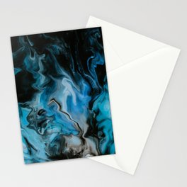 Blue Fire Abstract Marble Art Stationery Cards