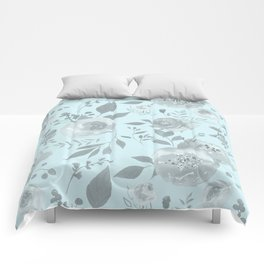 light blue and gray floral watercolor print Comforters