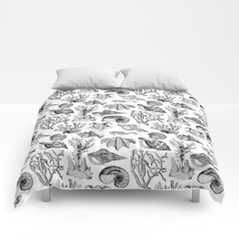 Vintage Nautical Illustrations in Black Ink Comforters