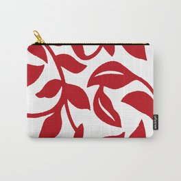 LEAF PALM VINE IN RED AND WHITE PATTERN Carry-All Pouch