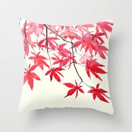 red maple leaves watercolor painting Throw Pillow