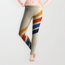 Rainbow 70s 60s Stripe Colorful Rainbow Tan Retro Vintage Leggings