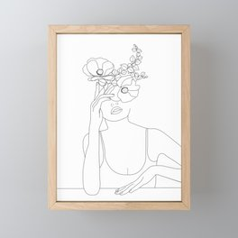 Minimal Line Art Woman with Flowers II Framed Mini Art Print