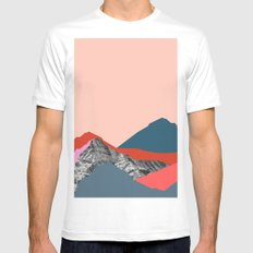 Graphic Mountains White MEDIUM Mens Fitted Tee