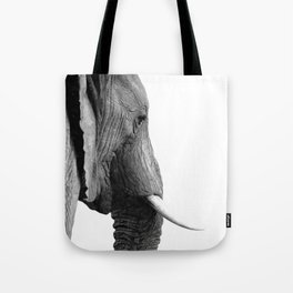 Black and white elephant portrait Tote Bag