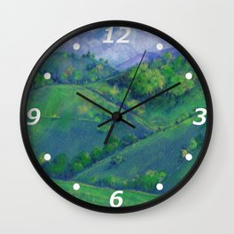 landscape in the mountains drawing by pastel Wall Clock