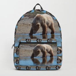 Grizzly Cub Drinking from Stream  Alaska Katmai National Park #Socety6 Backpack