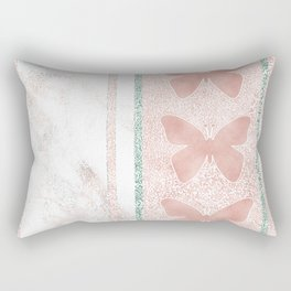 Snow White Peach Butterfly Abstract Pattern Rectangular Pillow