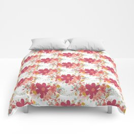 Pink coral teal hand painted floral illustration Comforters