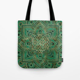 Flower of Life in Lotus - Malachite and gold Tote Bag