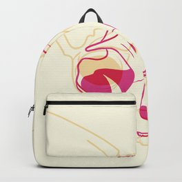 Yellow and Pink Sphynx Cat Skull Overlay - Hairless Kitty Trippy Line Art Backpack