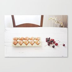 Cherries and eggs Canvas Print