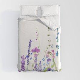 purple blue wild flowers watercolor painting Duvet Cover