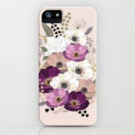 Anemones & Gardenia floral bouquet iPhone Case