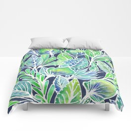 Masked Flora Collection Leaves Comforters