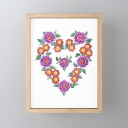 Flower Heart Framed Mini Art Print
