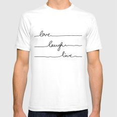 Love Laugh Live MEDIUM White Mens Fitted Tee