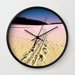 Cross country skiing | Winter wonderland | Landscape photography Wall Clock