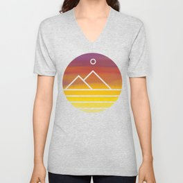 Minimalistic Watercolor Sunset Unisex V-Neck