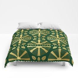 Emerald & Gold Art Deco Fan Comforters