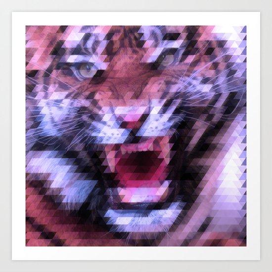 Pixel Tiger Art Print