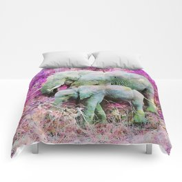 Elephant art mother child pink floral Comforters