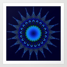 Blue kaleidoscope fractal star Art Print