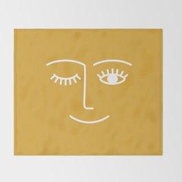 wink / mustard Throw Blanket