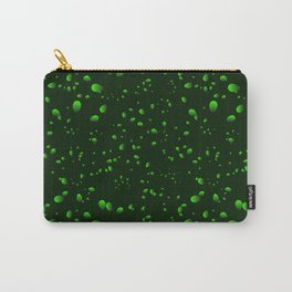 Green iridescent drops and petals on a black background in nacre. Carry-All Pouch